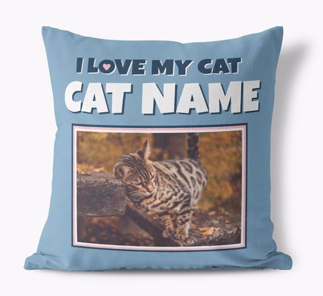 'I Love My Cat' - Personalized Bengal Canvas Pillow