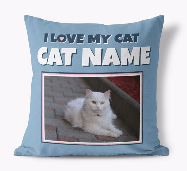 'I Love My Cat' - Personalized Cat Canvas Pillow