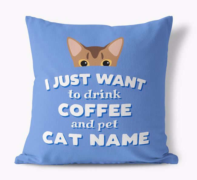 'I Just Want to Drink Coffee...' - Personalized Cat Canvas Pillow