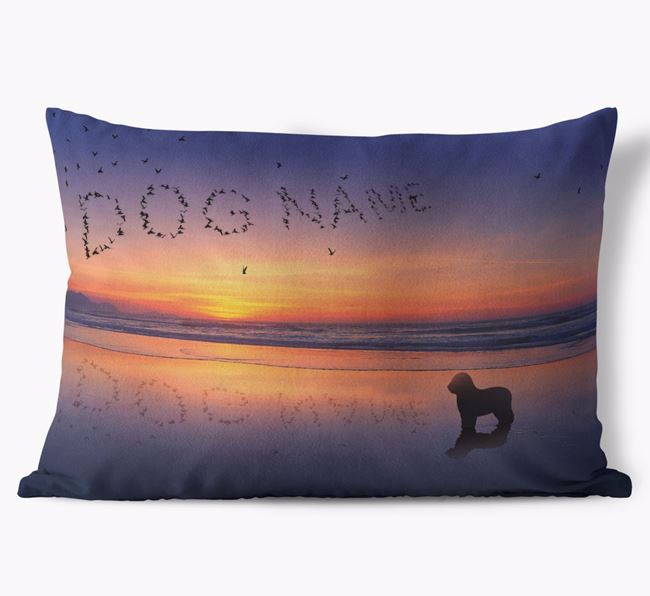 'Sunset Beach' - Personalized Old English Sheepdog Soft Touch Pillow