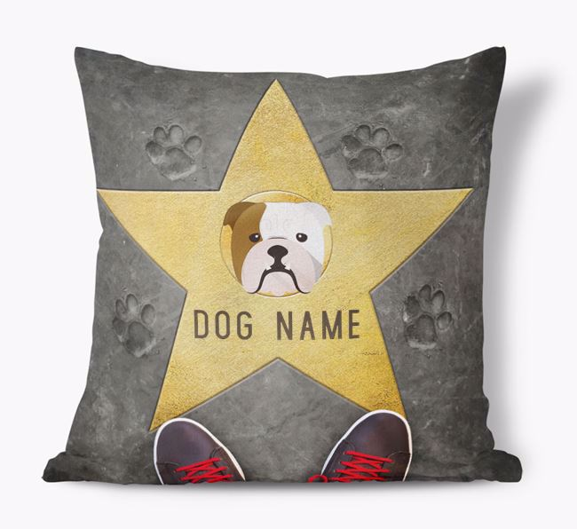 'Star of Fame' - Personalised English Bulldog Soft Touch Cushion