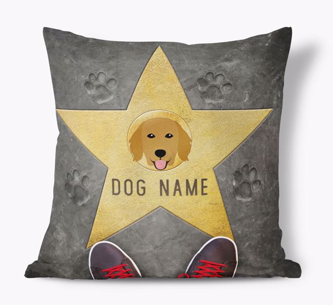'Star of Fame' - Personalized Flat-Coated Retriever Soft Touch Cushion