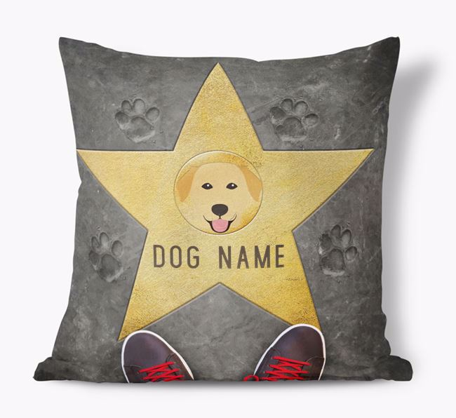 'Star of Fame' - Personalized Golden Labrador Soft Touch Cushion