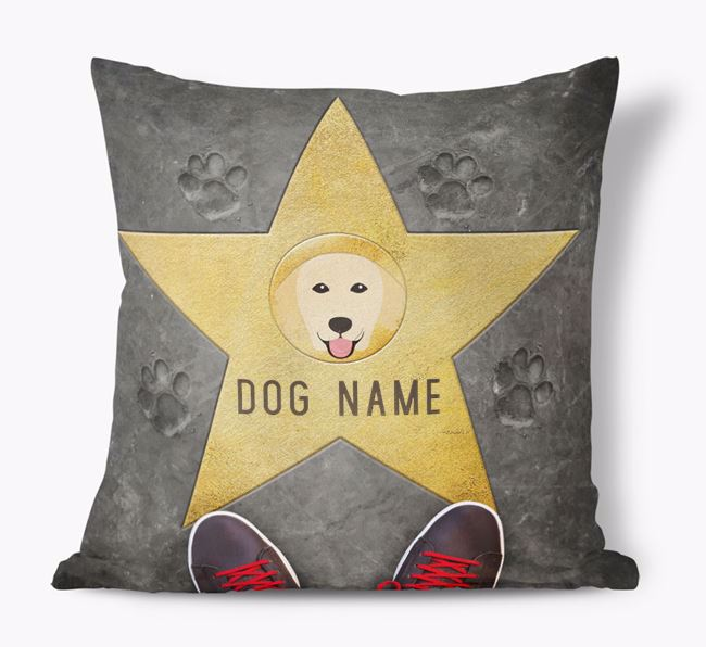 'Star of Fame' - Personalized Golden Retriever Soft Touch Cushion
