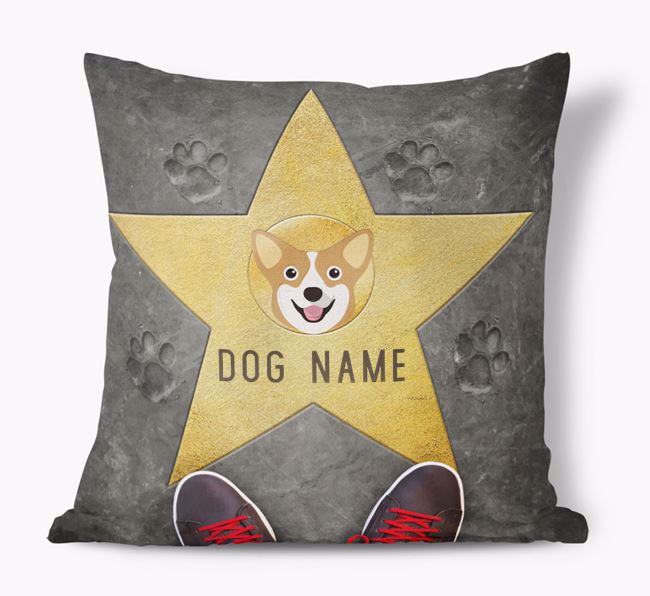 'Star of Fame' - Personalized Pembroke Welsh Corgi Soft Touch Cushion