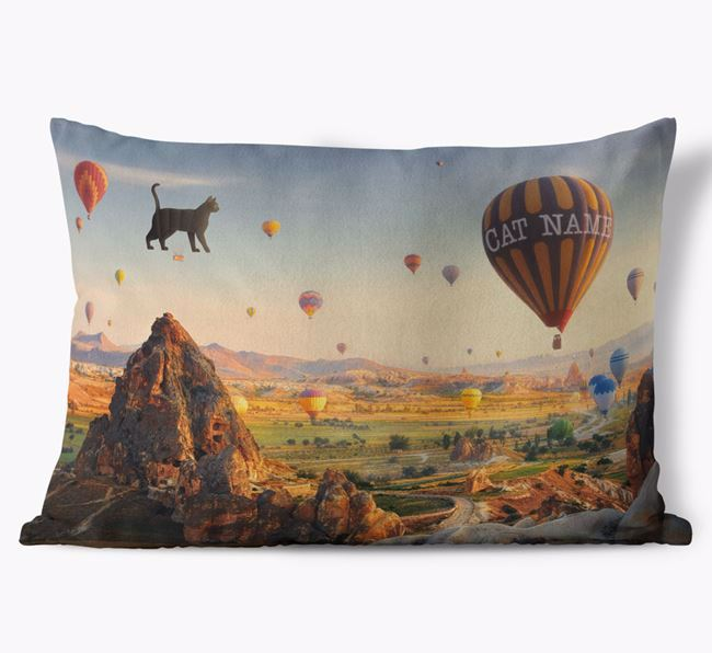 'Hot Air Balloons' - Personalized Cat Soft Touch Pillow
