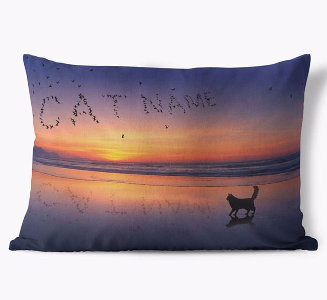 'Sunset Beach' - Personalized Cat Soft Touch Pillow