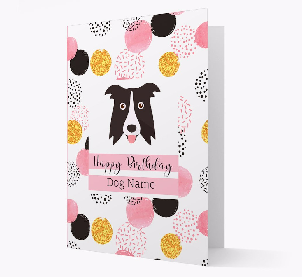 Birthday Card 'Happy Birthday {dogsName}' with Border Collie Yappicon