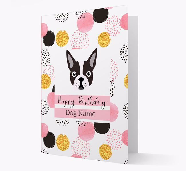 Personalized Pink Pattern 'Happy Birthday' Dog Card