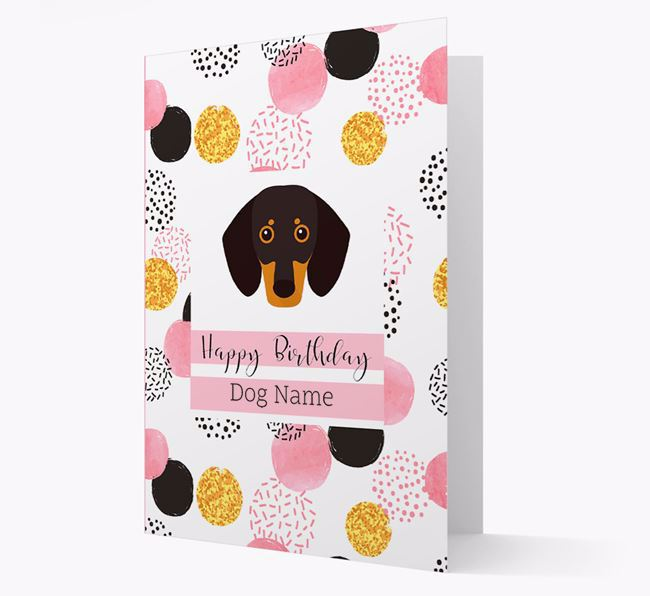 Personalised Pink Pattern 'Happy Birthday' Dog Card