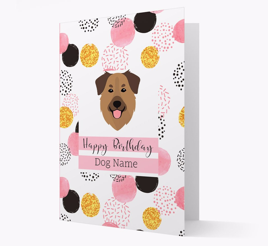Birthday Card 'Happy Birthday {dogsName}' with Golden Shepherd Yappicon