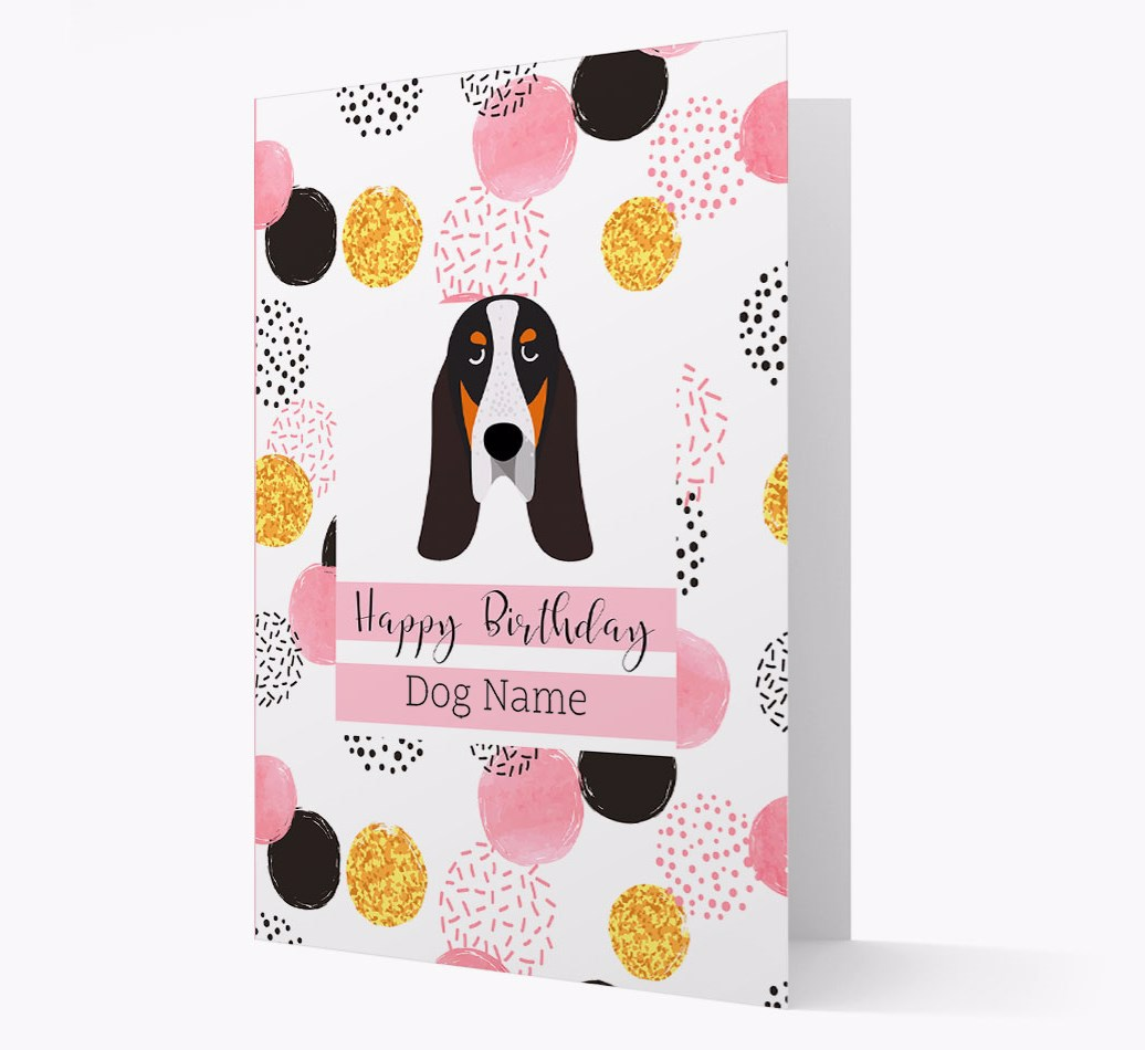 Birthday Card 'Happy Birthday {dogsName}' with Grand Bleu De Gascogne Yappicon