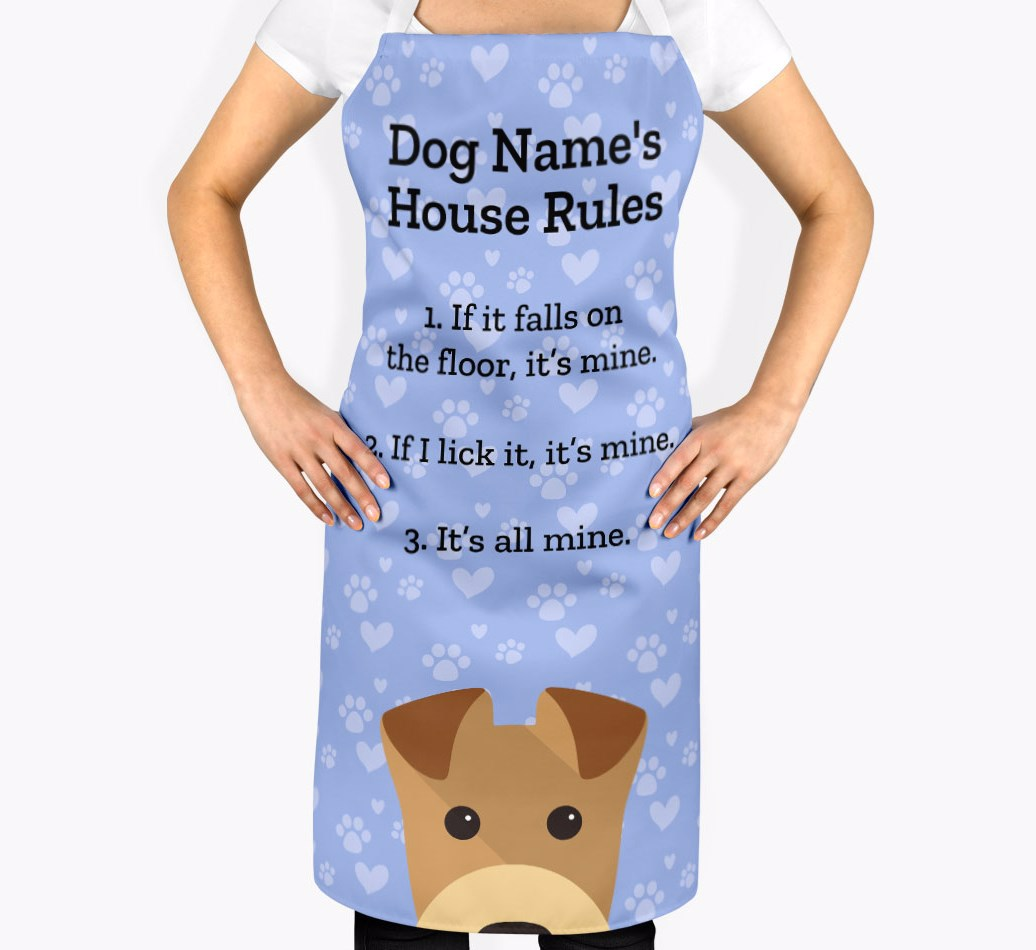 Personalised Airedale Terrier Apron - '{dogsName}'s House Rules' - 2
