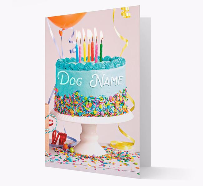 Personalised 'Happy Birthday Blue Cake' Card for your Staffordshire Bull Terrier