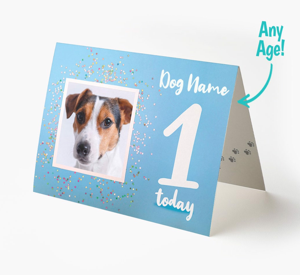 Greeting Card with Age and photo of your Dog