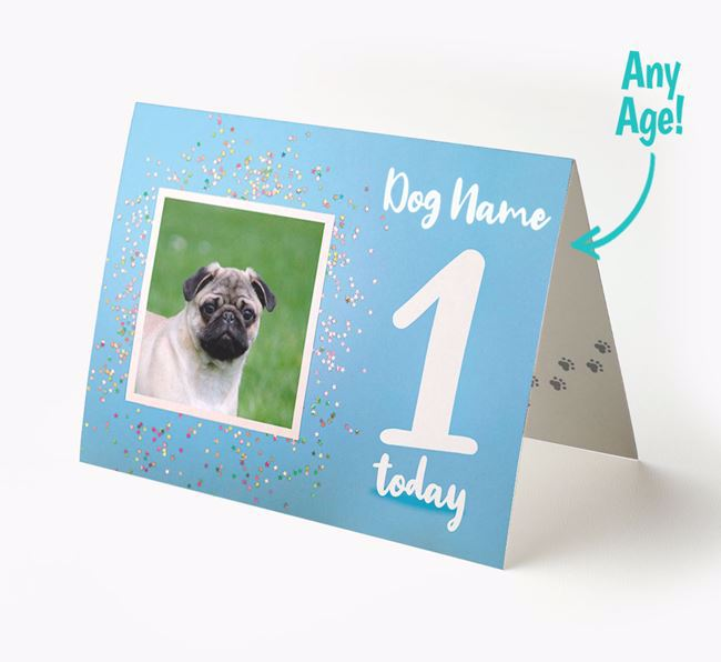 Birthday Card featuring a Photo of your Pug