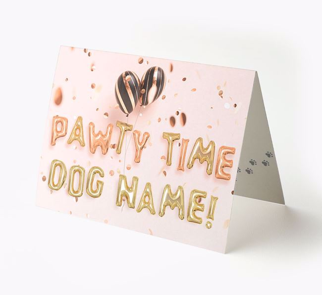 Personalized 'Pawty Time' Card for your Bearded Collie