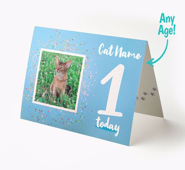 'Confetti' - Personalized Cat Photo Upload Card with Age
