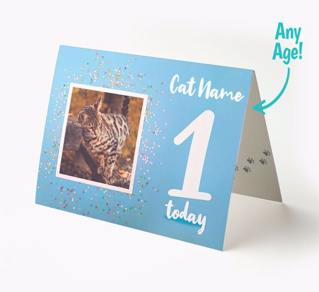 'Confetti' - Personalized Bengal Photo Upload Card with Age