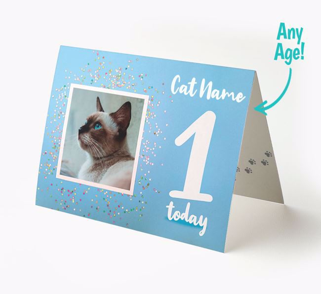 Birthday Card with photo of your Siamese