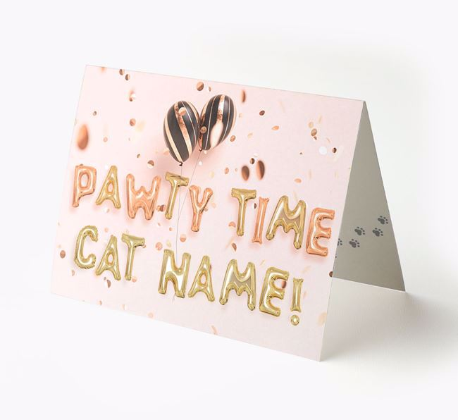Personalized 'Pawty Time' Card for your Cat