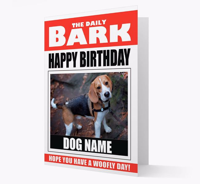 'Happy Birthday' Newspaper - Personalised Card with Photo of your Beagle