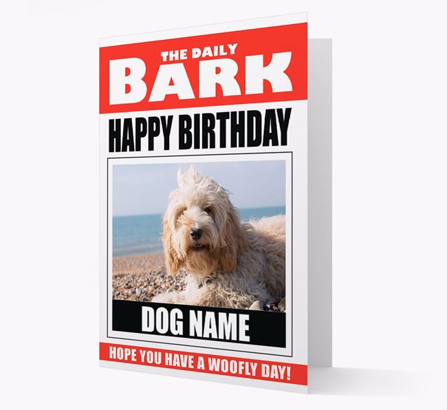 'Happy Birthday' Newspaper - Personalized Card with Photo of your Cockapoo