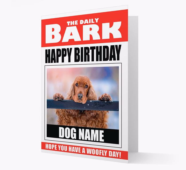 'Happy Birthday' Newspaper - Personalized Card with Photo of your Cocker Spaniel