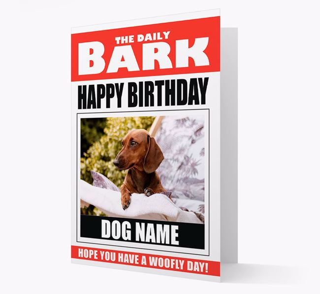 'Happy Birthday' Newspaper - Personalised Card with Photo of your Dachshund