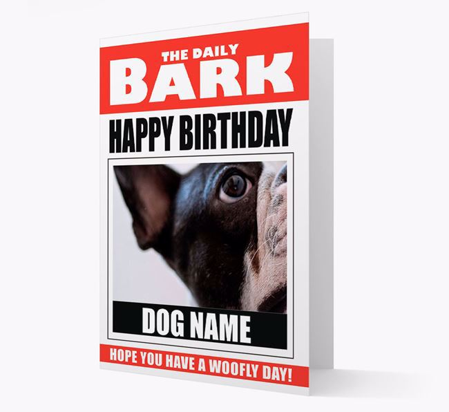 'Happy Birthday' Newspaper - Personalised Card with Photo of your French Bulldog