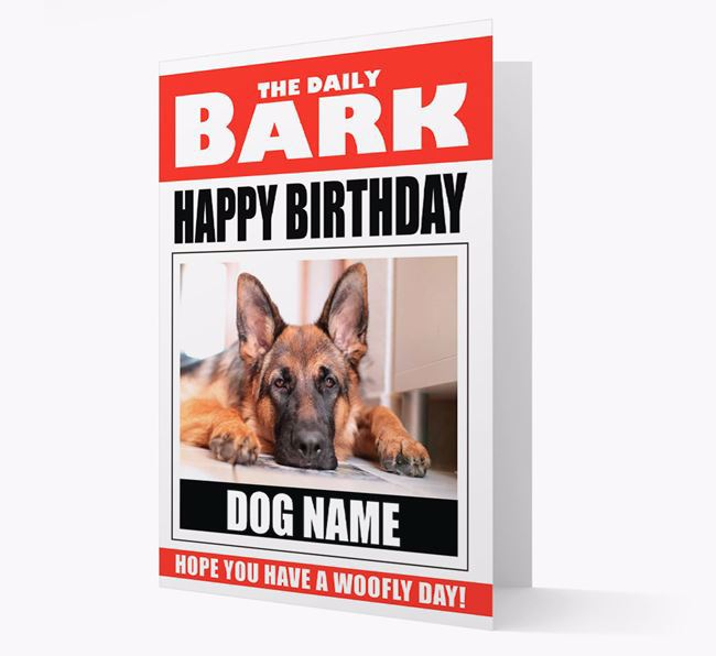 'Happy Birthday' Newspaper - Personalized Card with Photo of your German Shepherd