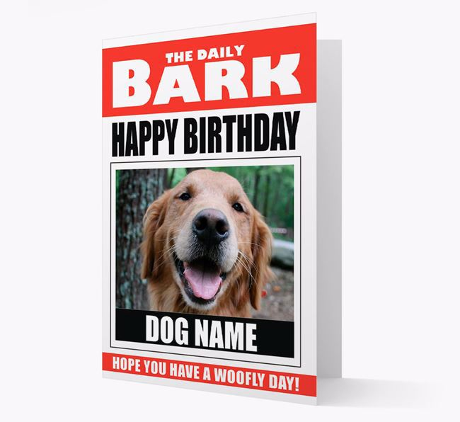 'Happy Birthday' Newspaper - Personalised Card with Photo of your Golden Retriever