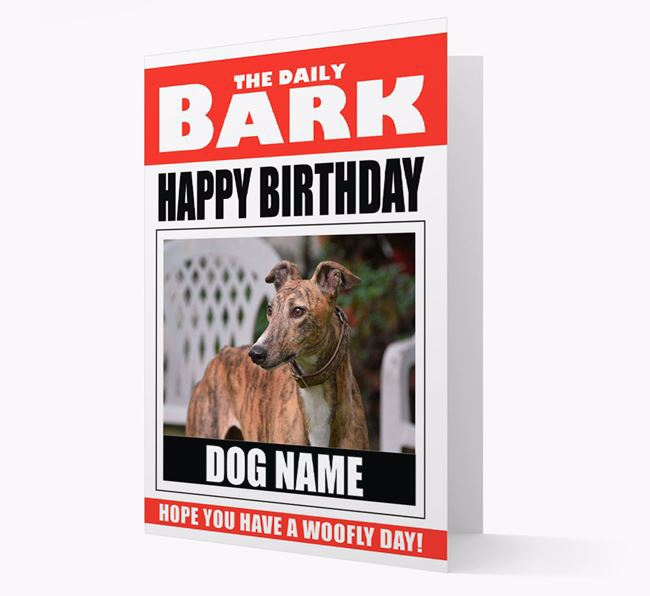 'Happy Birthday' Newspaper - Personalized Card with Photo of your Greyhound