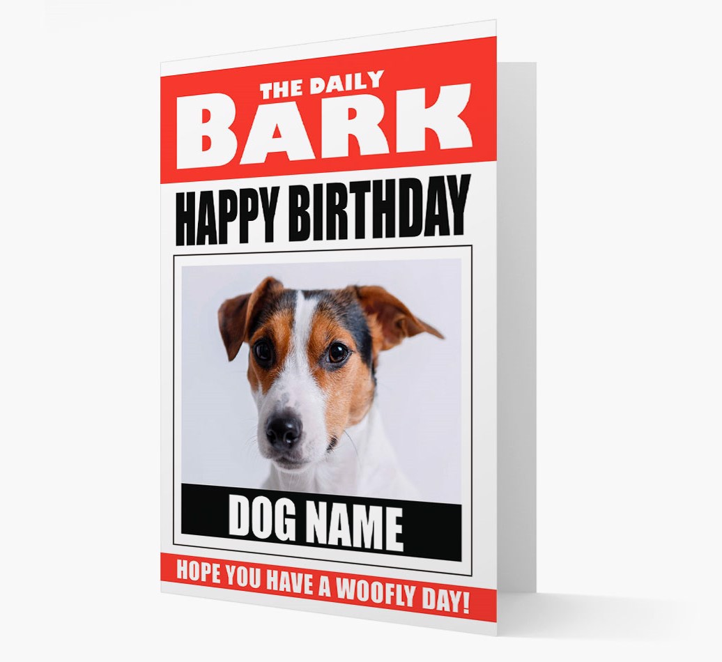 'Happy Birthday' Newspaper  Card with Photo of your Dog