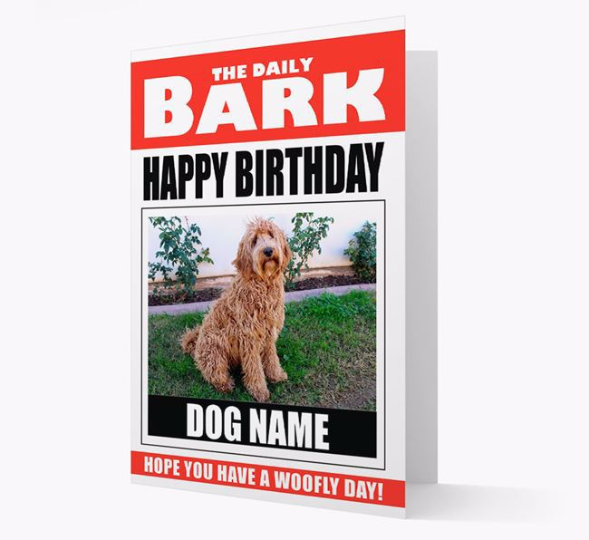'Happy Birthday' Newspaper - Personalised Card with Photo of your Labradoodle