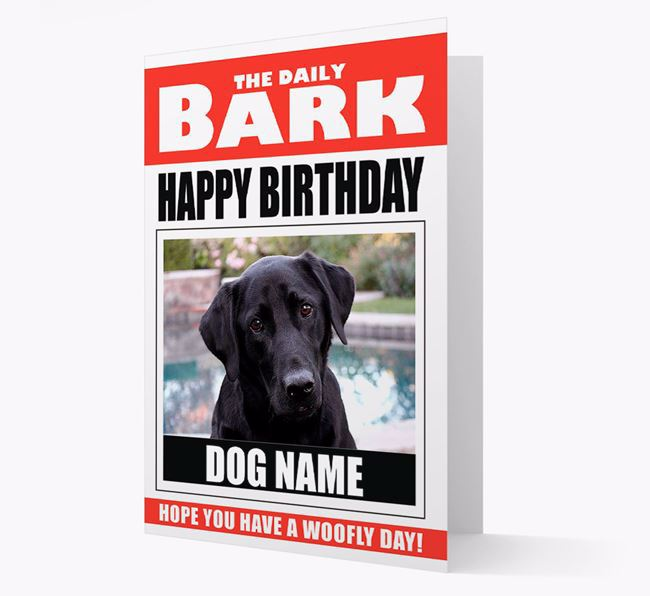 'Happy Birthday' Newspaper - Personalized Card with Photo of your Labrador Retriever