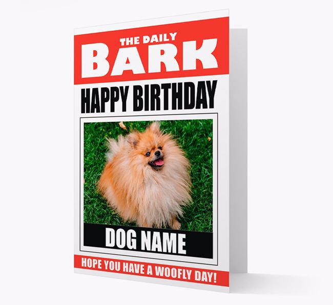 'Happy Birthday' Newspaper - Personalized Card with Photo of your Pomeranian