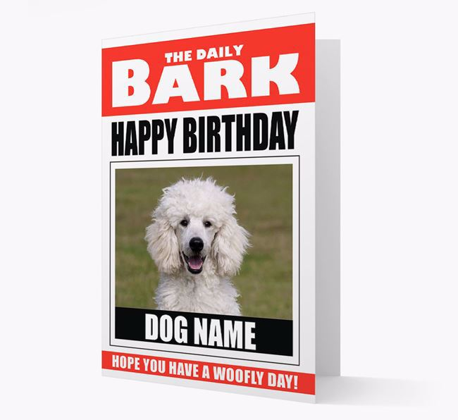 'Happy Birthday' Newspaper - Personalised Card with Photo of your Poodle