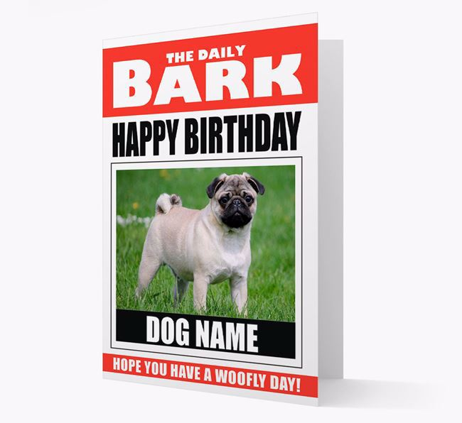 'Happy Birthday' Newspaper - Personalized Card with Photo of your Pug