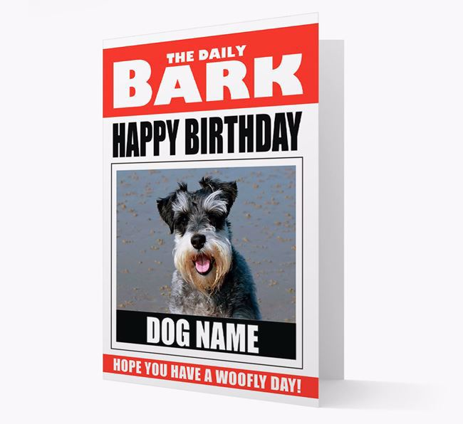 'Happy Birthday' Newspaper - Personalised Card with Photo of your Schnauzer