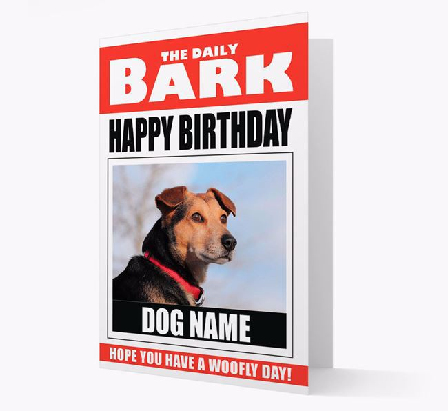 'Happy Birthday' Newspaper - Personalised Card with Photo of your Dog
