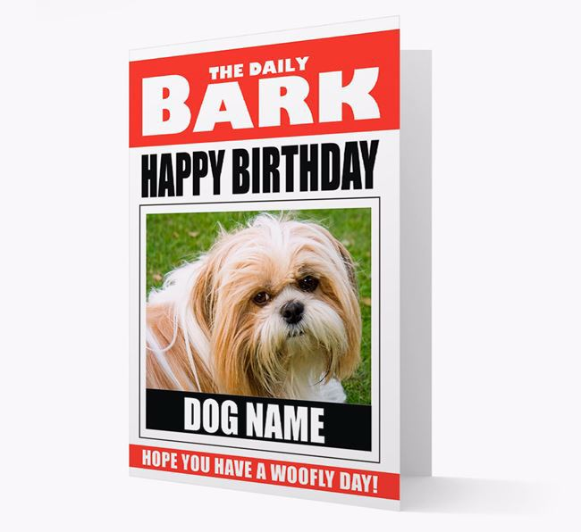 'Happy Birthday' Newspaper - Personalized Card with Photo of your Shih Tzu