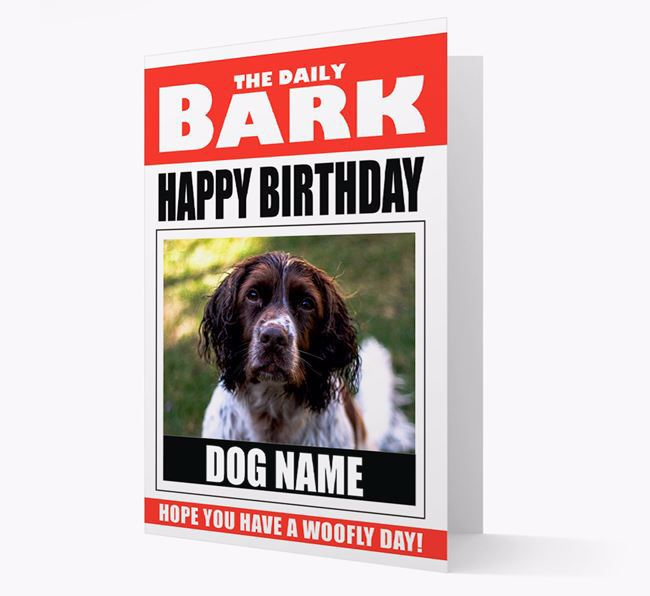 'Happy Birthday' Newspaper - Personalised Card with Photo of your Springer Spaniel