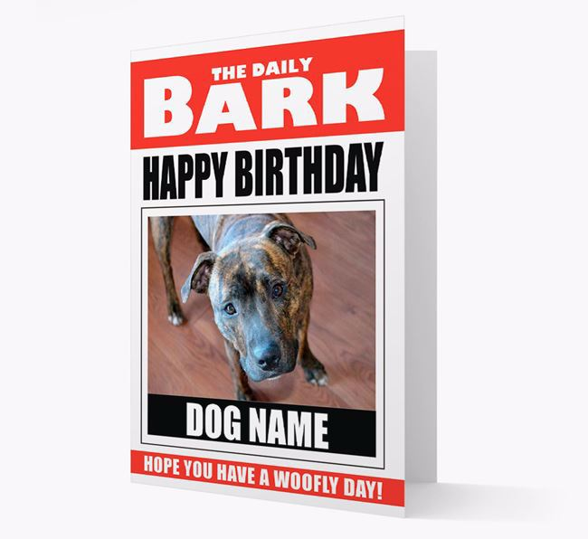 'Happy Birthday' Newspaper - Personalized Card with Photo of your Staffordshire Bull Terrier