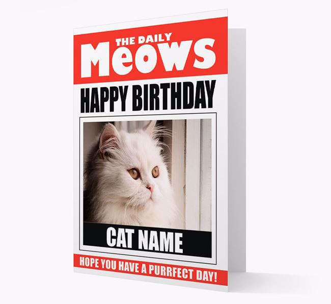 'Happy Birthday' Newspaper - Personalized Card with Photo of your Cat