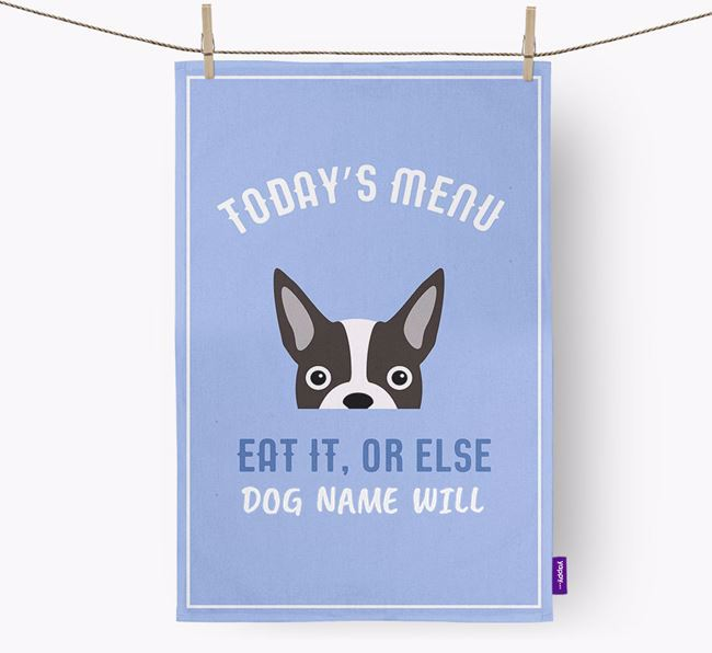 'Eat It, Or Else Your Dog Will' - Personalized Dog Dish Towel