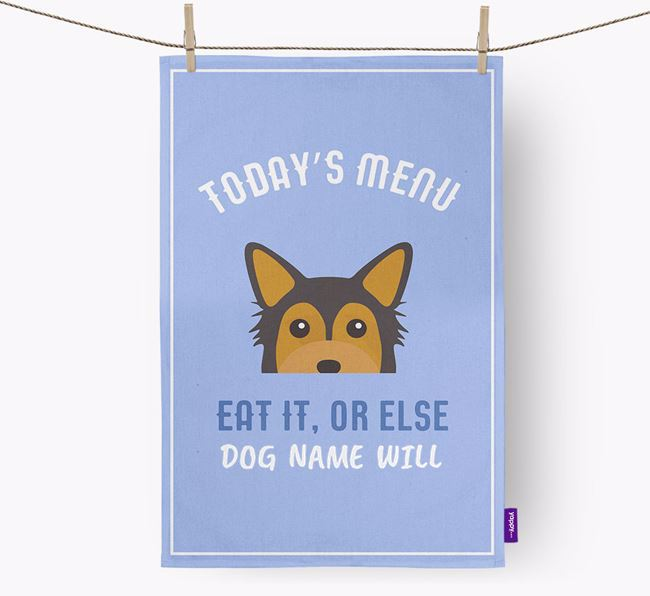 'Eat It, Or Else Your Dog Will' - Personalized Chorkie Dish Towel