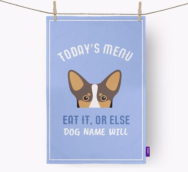 'Eat It, Or Else Your Dog Will' - Personalized Lancashire Heeler Dish Towel