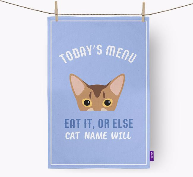 'Eat It, Or Else Your Cat Will' - Personalised Cat Tea Towel