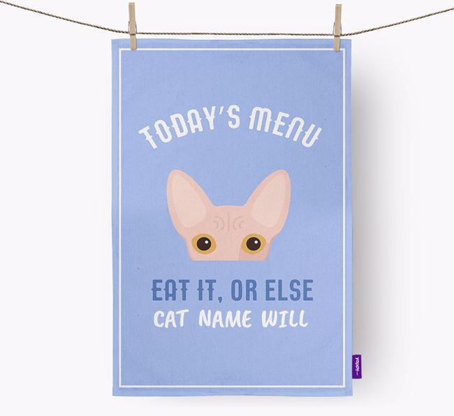'Eat It, Or Else Your Cat Will' - Personalized Cat Dish Towel